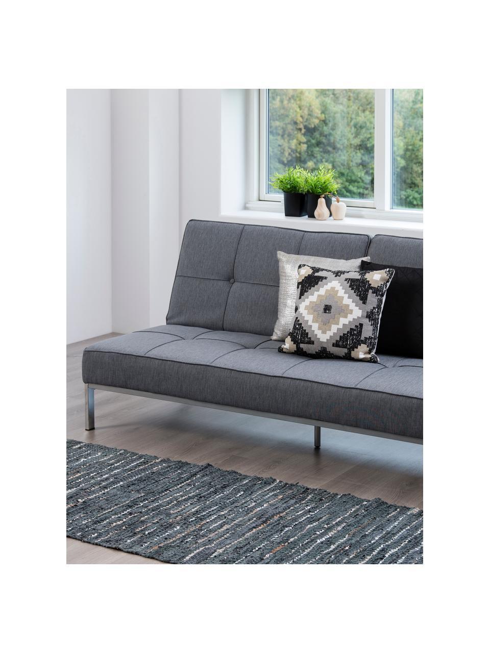 Slaapbank Perugia in grijs met metalen poten, uitklapbaar, Bekleding: polyester, Poten: gelakt metaal, Lichtgrijs, B 198 x D 95 cm