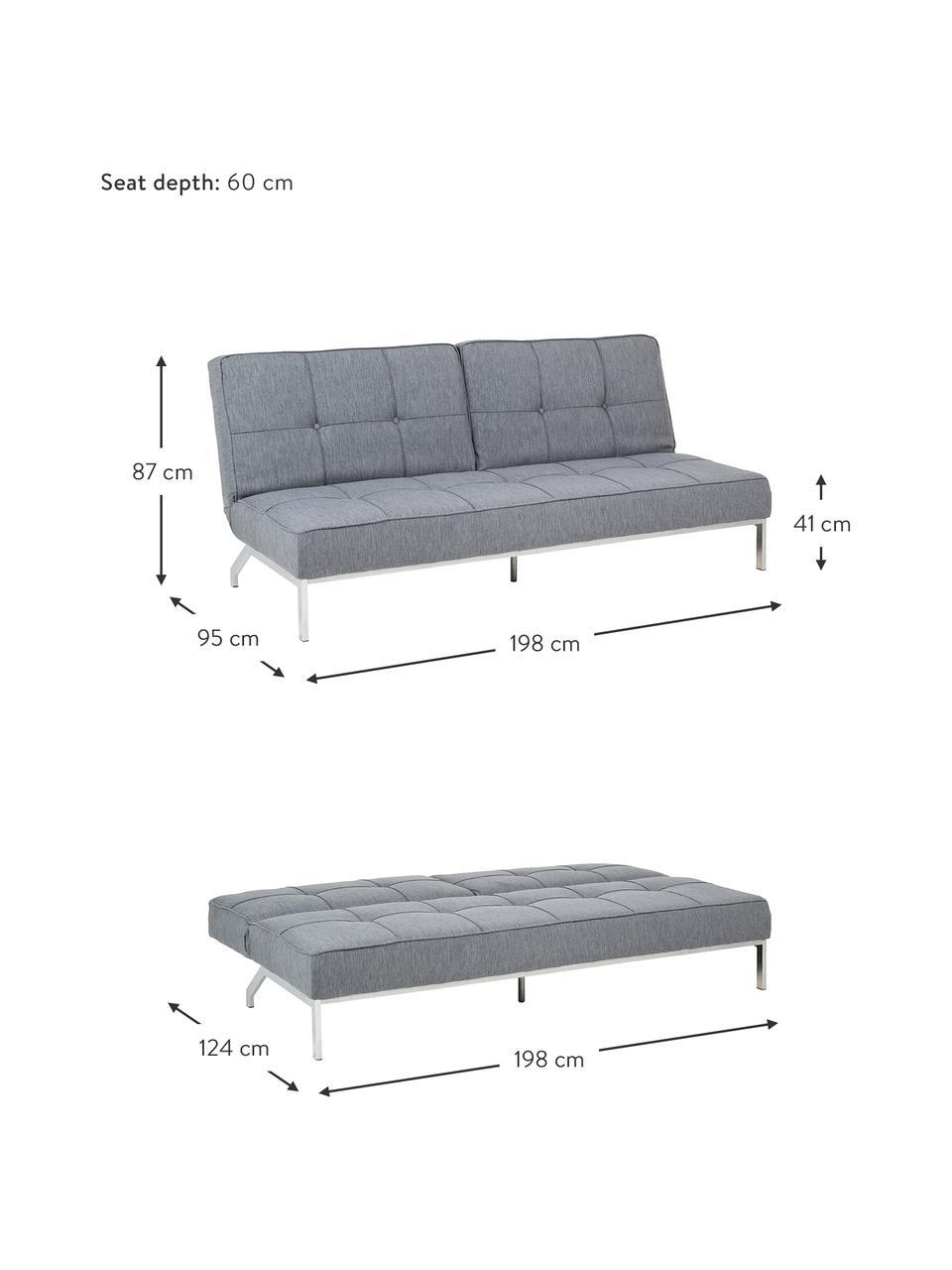 Schlafsofa Perugia in Grau mit Metall-Füßen, ausklappbar, Bezug: Polyester Der hochwertige, Füße: Metall, lackiert, Webstoff Hellgrau, B 198 x T 95 cm