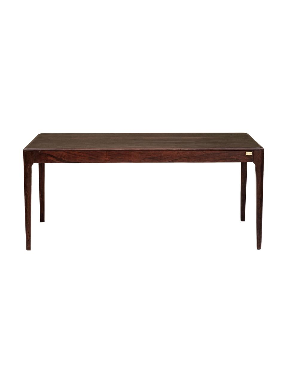 Stół do jadalni z litego drewna  Brooklyn, Drewno sheesham, o powierzchni wyrównanej bejcą, farbą na bazie wody w kolorze orzecha włoskiego, Drewno orzechowe, S 200 x G 100 cm