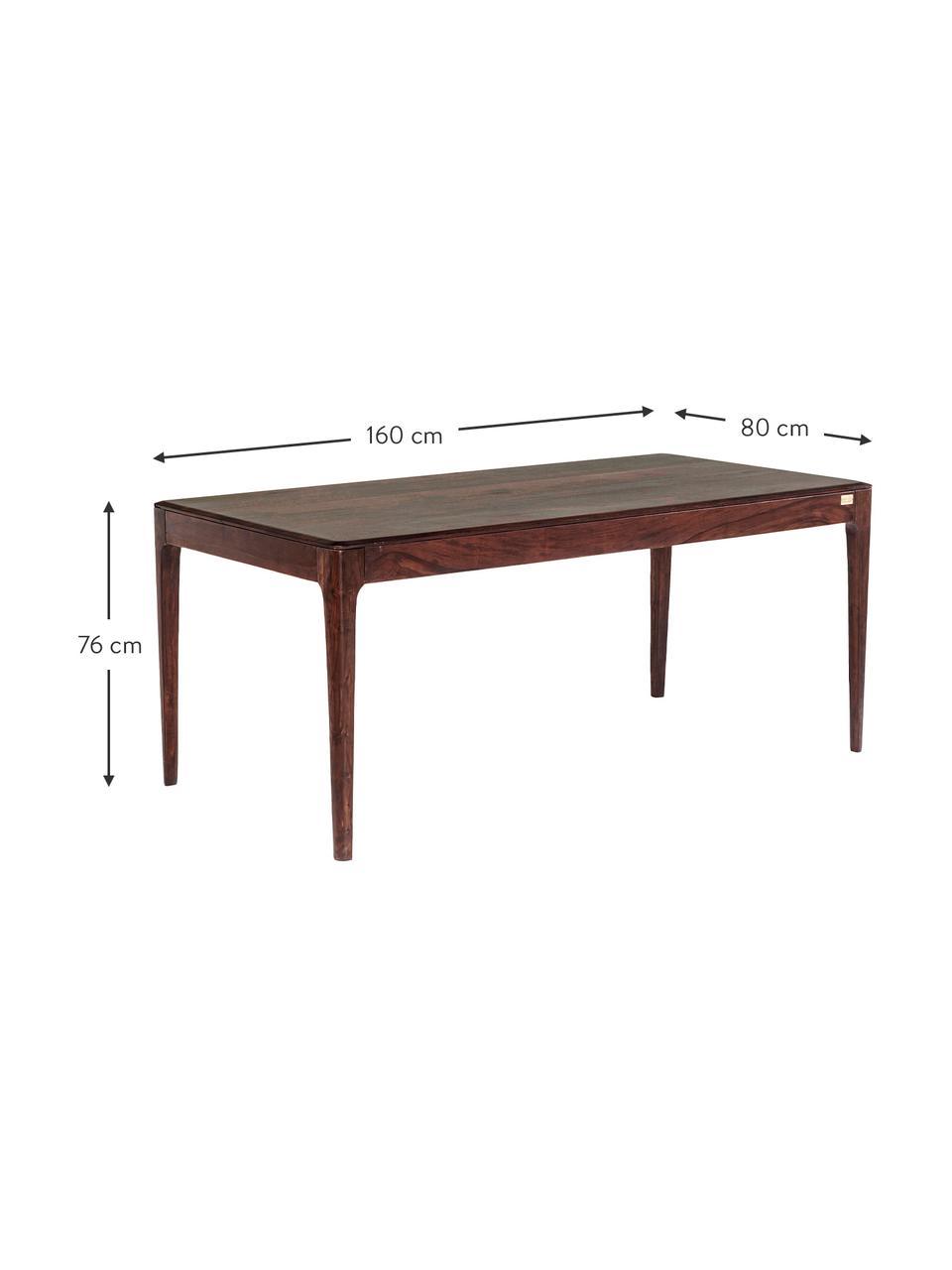 Tavolo in legno massello Brooklyn, Legno di sheesham, tinta equalizzata con vernice a base d'acqua color noce, Color noce, Larg. 160 x Prof. 100 cm