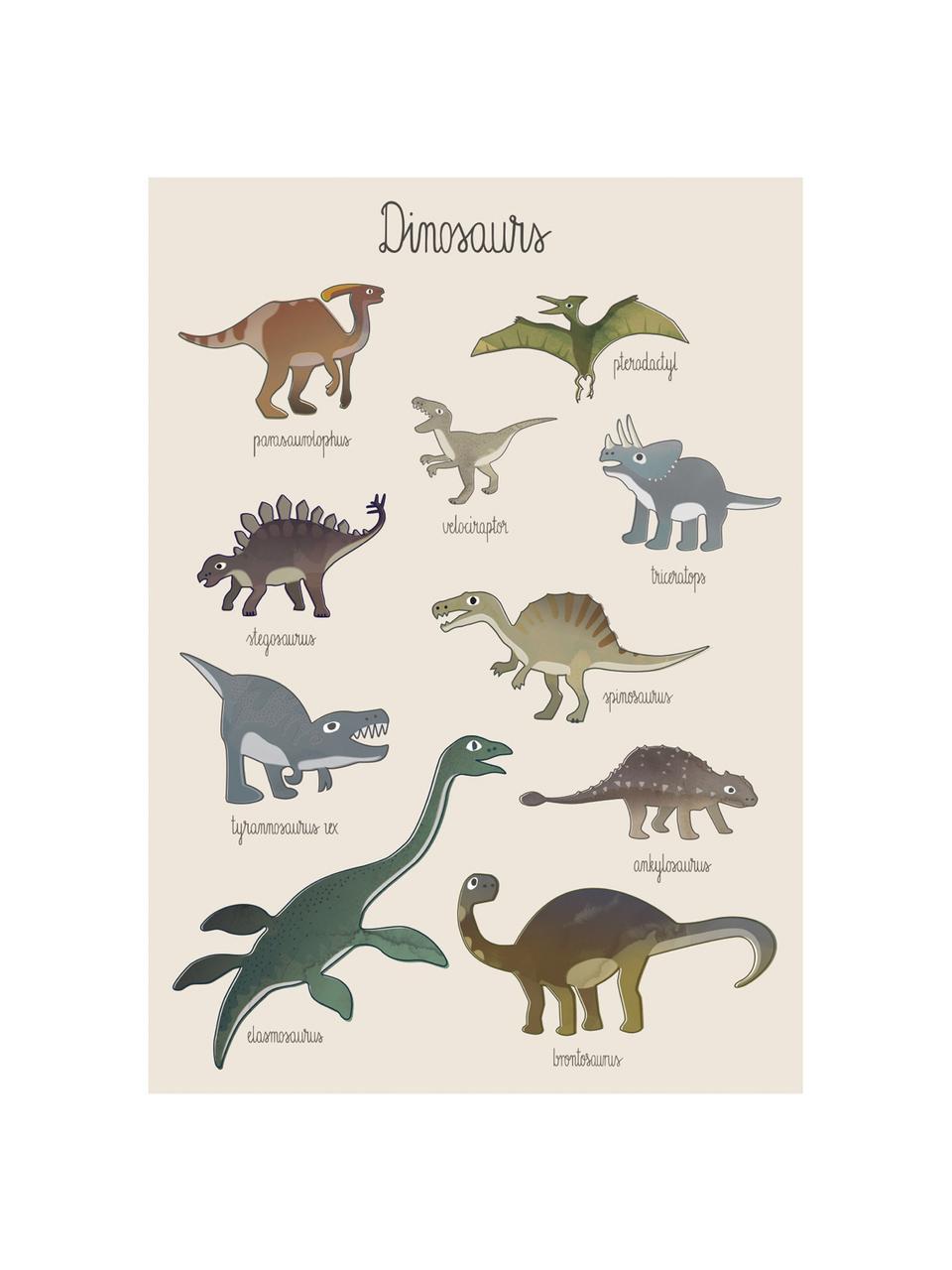 Poster Dino, Carta patinata, 250 g/m², Multicolore, Larg. 50 x Alt. 70 cm