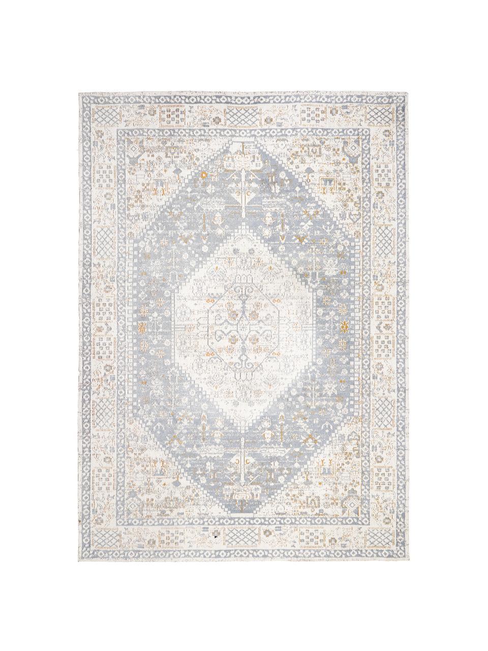 Handgewebter Chenilleteppich Neapel im Vintage Style, Flor: 95% Baumwolle, 5% Polyest, Taubenblau, Creme, Taupe, B 120 x L 180 cm (Größe S)