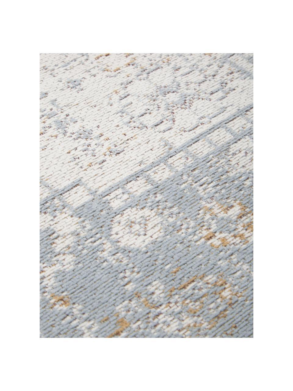 Handgeweven chenille vloerkleed Neapel in vintage stijl, Bovenzijde: 95% katoen, 5% polyester, Onderzijde: 100% katoen, Blauw, crèmekleurig, taupe, B 120 x L 180 cm (maat S)