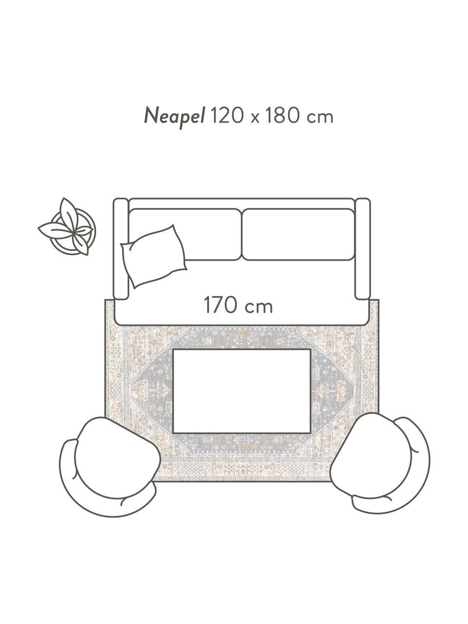 Ręcznie tkany dywan szenilowy w stylu vintage Neapel, Szaroniebieski, kremowy, taupe, S 120 x D 180 cm (Rozmiar S)