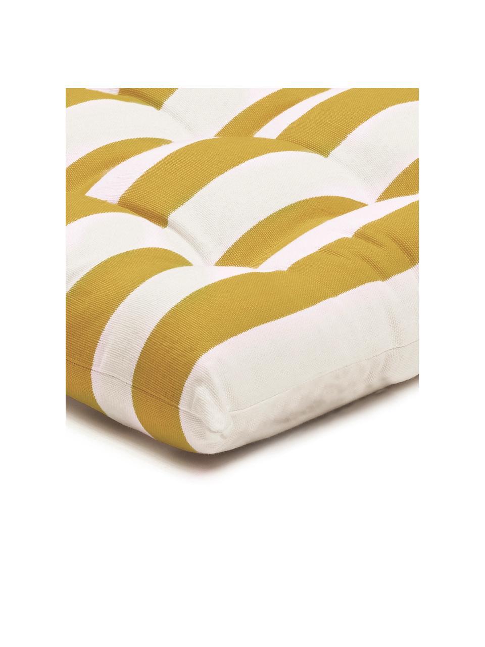Gestreiftes Sitzkissen Timon in Gelb/Weiß, Bezug: 100% Baumwolle, Gelb, Weiß, 40 x 40 cm
