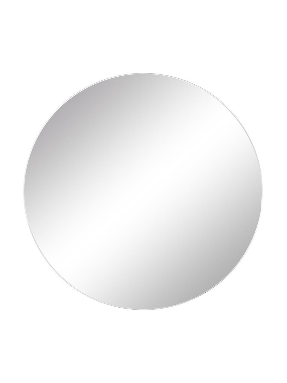 Specchio rotondo da parete senza cornice Erin, Superficie dello specchio: lastra di vetro, Retro: pannello di fibra a media, Superficie dello specchio: lastra di vetro Bordo esterno dello specchio: nero, Ø 55
