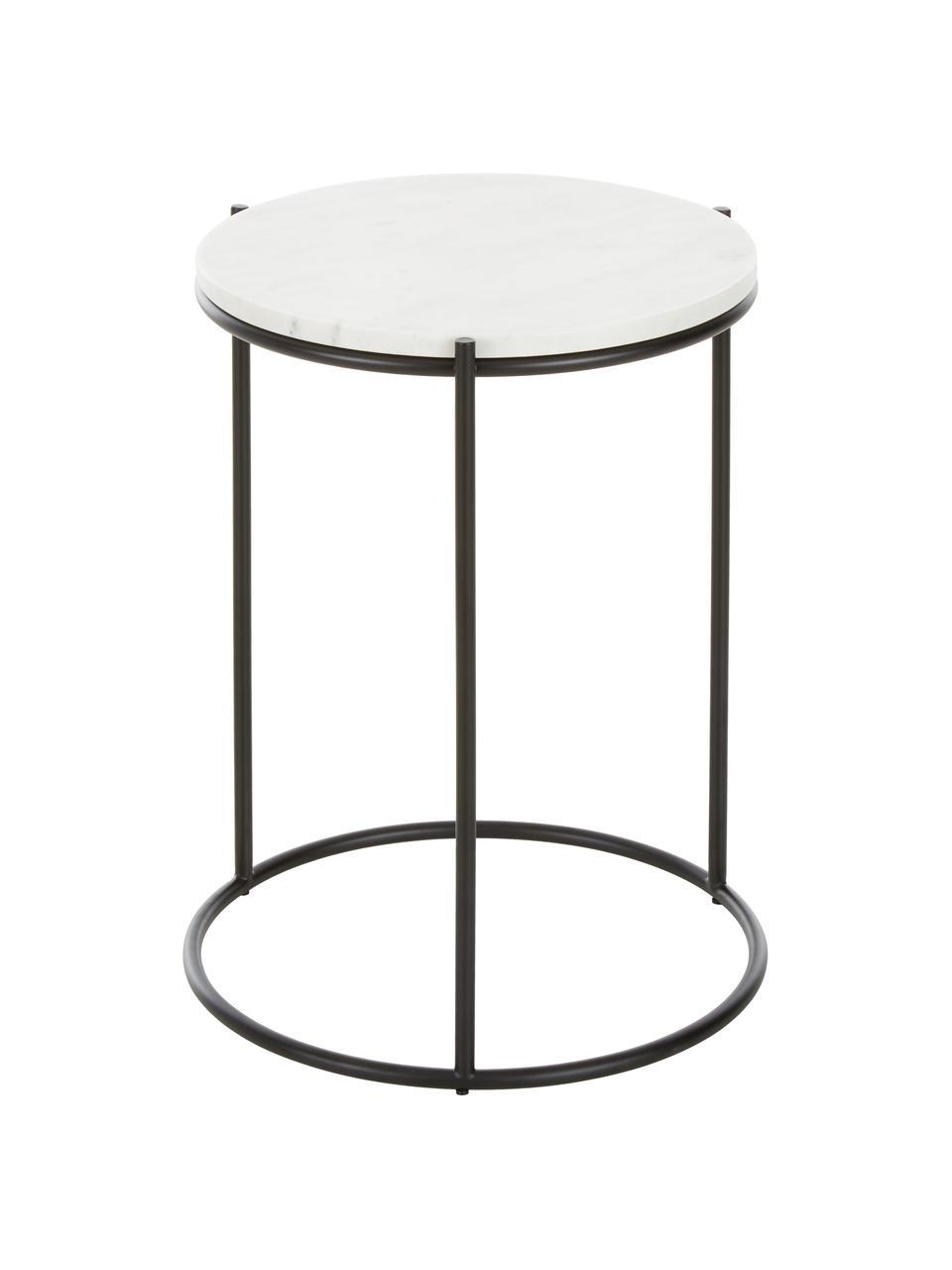 Runder Marmor-Beistelltisch Ella, Tischplatte: Marmor, Gestell: Metall, pulverbeschichtet, Tischplatte: Weißer MarmorGestell: Schwarz, matt, Ø 40 x H 50 cm