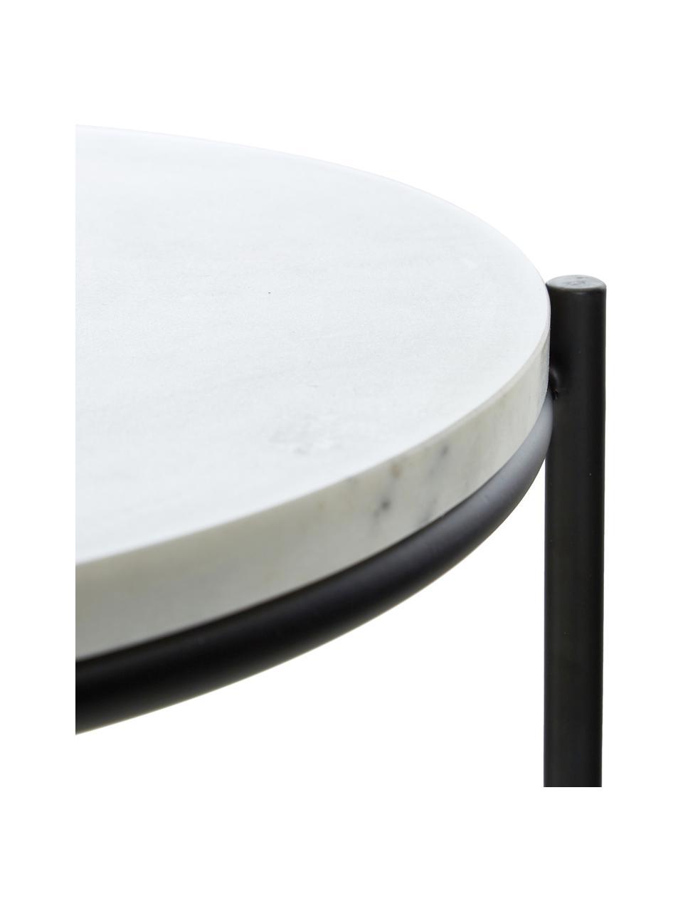 Ronde marmeren bijzettafel Ella, Tafelblad: marmer, Frame: gepoedercoat metaal, Wit marmer, zwart, Ø 40 x H 50 cm