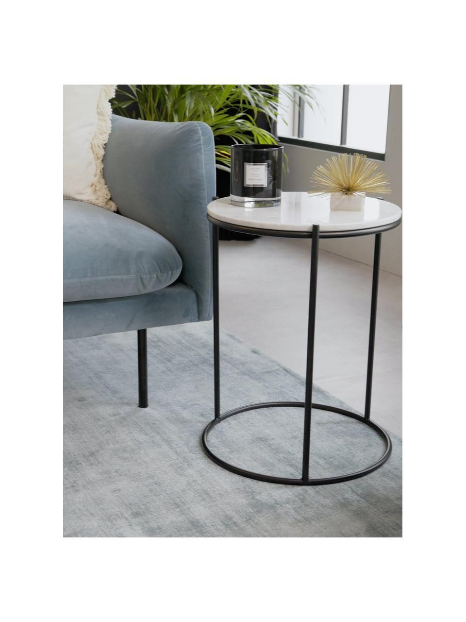 Okrągły stolik pomocniczy z marmuru Ella, Blat: marmur, Stelaż: metal malowany proszkowo, Blat: jaśniejszy marmur Stelaż: czarny, matowy, Ø 40 x W 50 cm