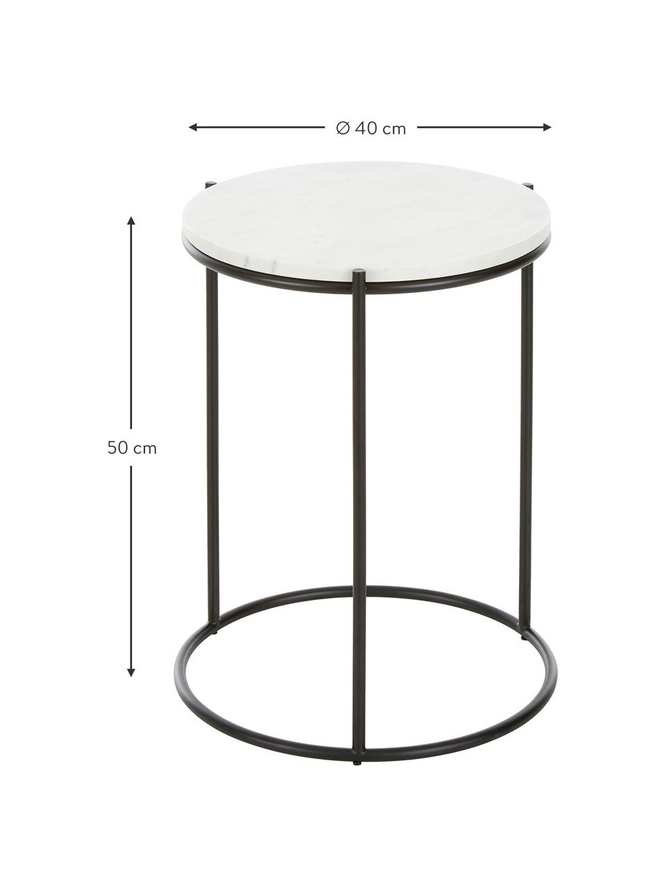Table d'appoint ronde en marbre Ella, Plateau: marbre blanc Cadre: noir, mat