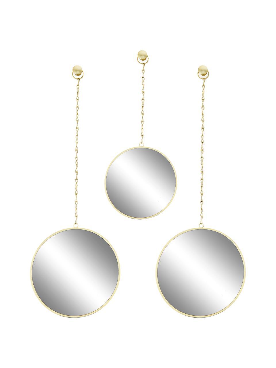 Rundes Wandspiegel-Set Dima mit goldenen Metallrahmen, 3-tlg., Rahmen: Metall, beschichtet, Spiegelfläche: Spiegelglas, Goldfarben, Set mit verschiedenen Größen