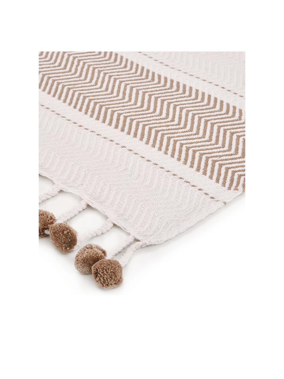 Koc z bawełny Tonnek, 100% bawełna, Złamana biel, taupe, S 130 x D 170 cm