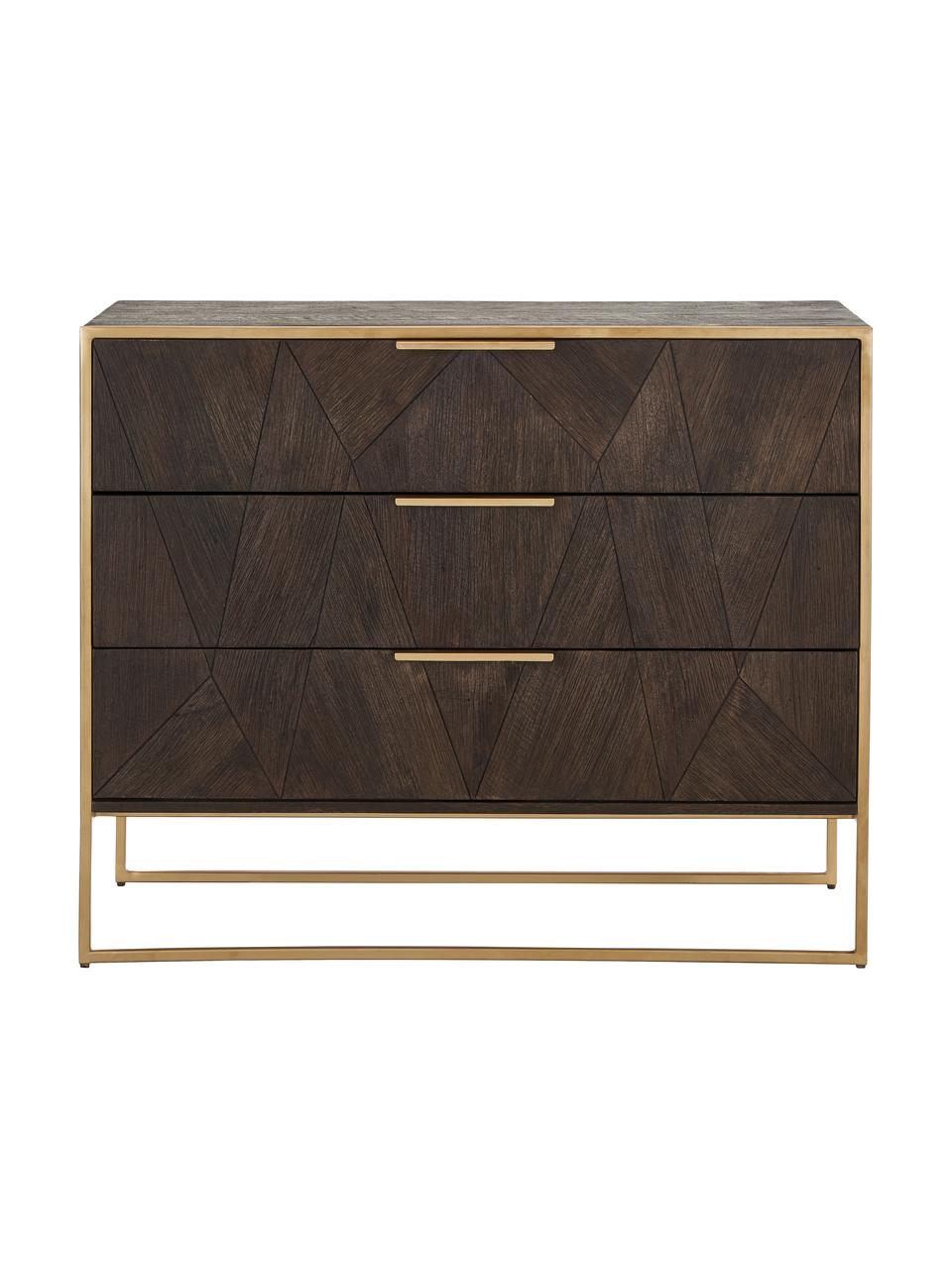 Szafka z szufladami z litego drewna mangowego Harry, Korpus: lite drewno mangowe, laki, Drewno mangowe, odcienie złotego, S 100 x W 80 cm