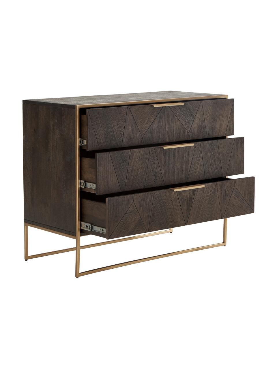 Szafka z szufladami z litego drewna Harry, Korpus: lite drewno mangowe, laki, Drewno mangowe, S 100 x W 80 cm