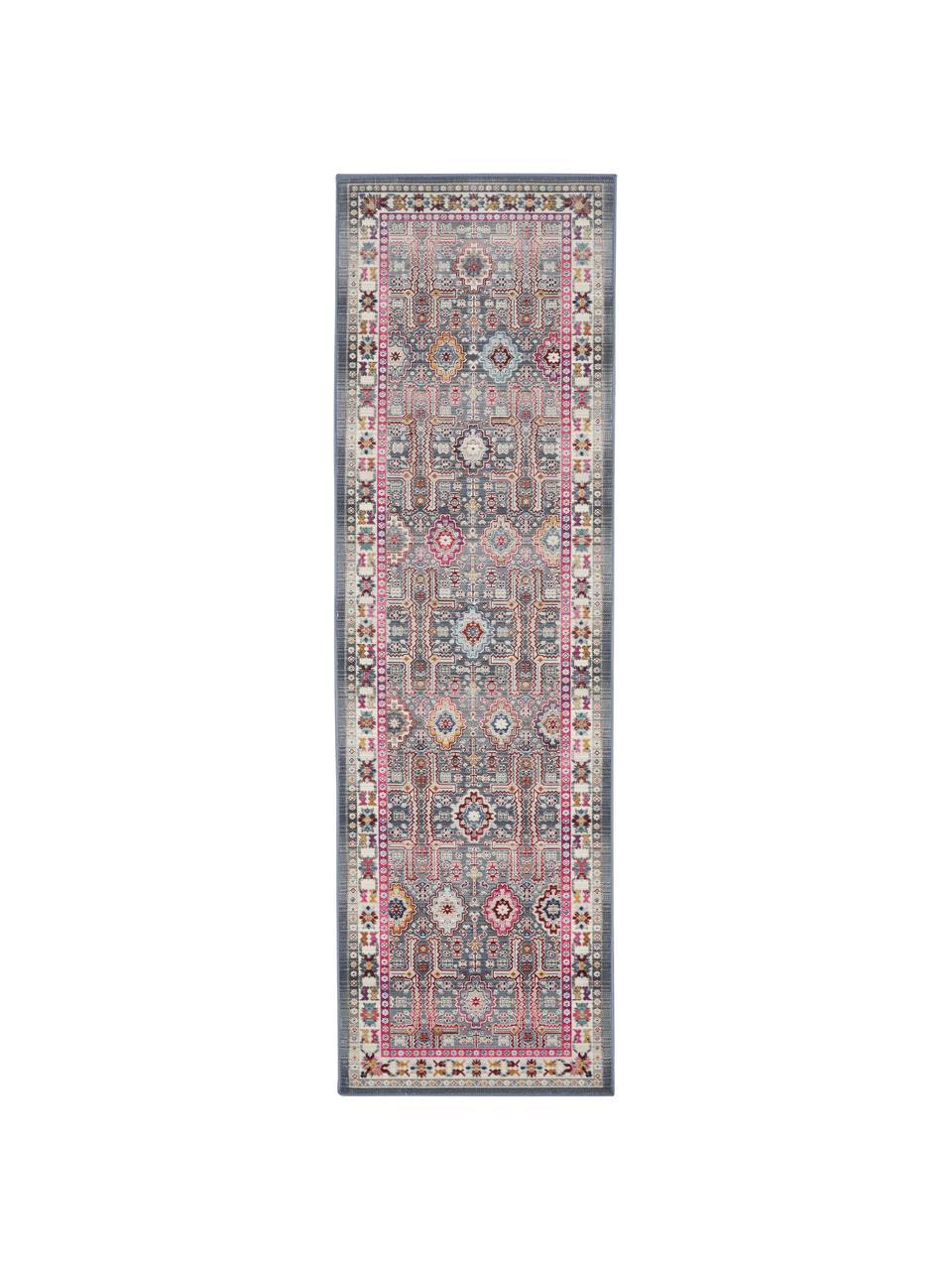 Chodnik vintage Kashan, Szary, wielobarwny, S 60 x D 185 cm