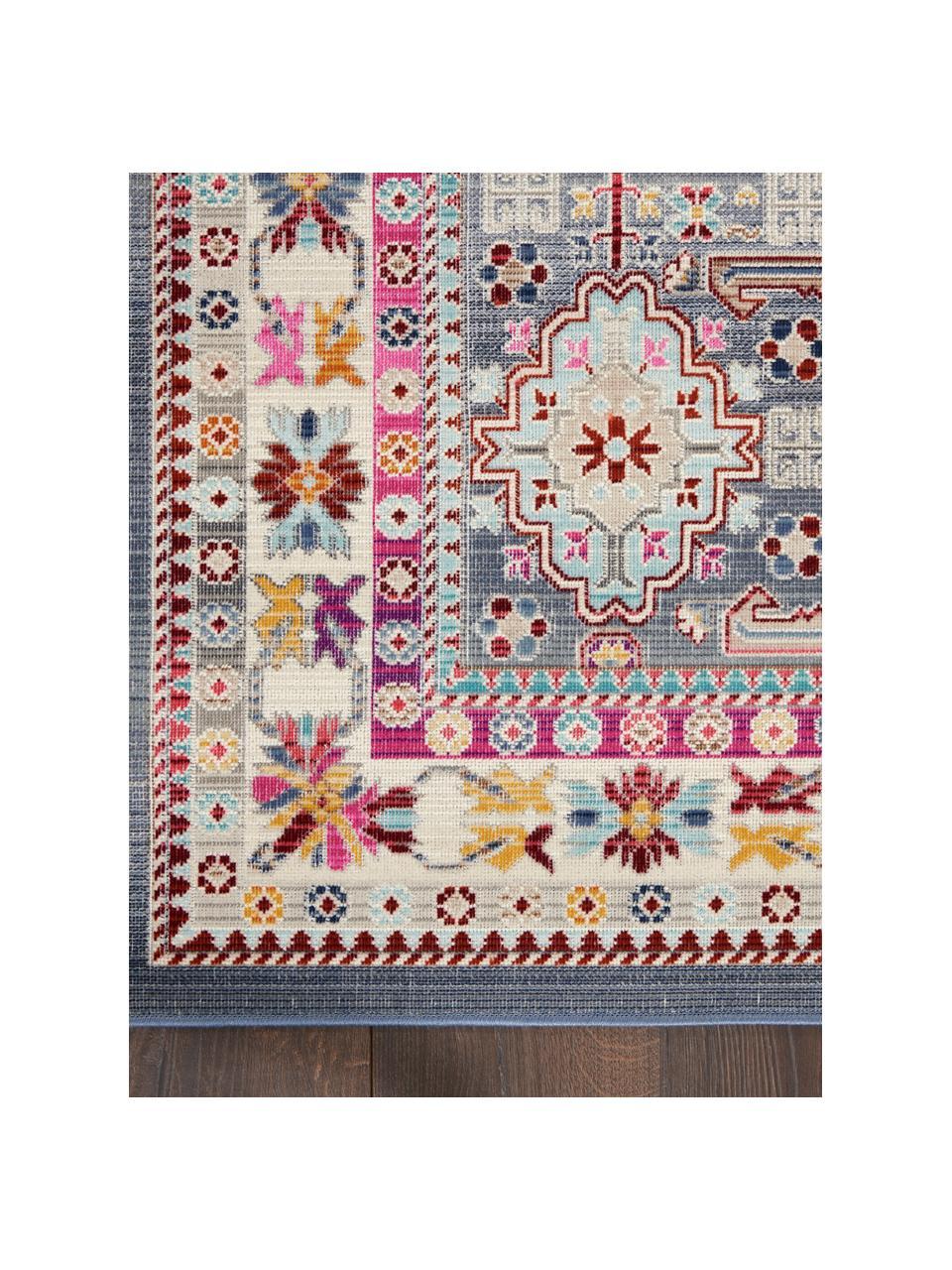 Passatoia vintage colorata Vintage Kashan, Retro: lattice, Grigio, multicolore, Larg. 60 x Lung. 185 cm