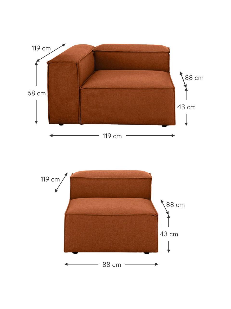 Modulares Sofa Lennon (4-Sitzer) in Terrakotta, Bezug: Polyester Der hochwertige, Gestell: Massives Kiefernholz, Spe, Füße: Kunststoff Die Füße befin, Webstoff Terrakotta, B 327 x T 119 cm