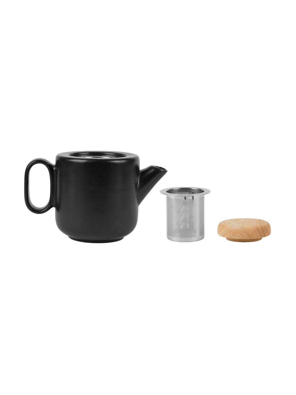 Steingut Teekanne Baltika mit Teesieb und Deckel, 700 ml, Steingut, Bambus, Rostfreier Stahl, Schwarz, 700 ml