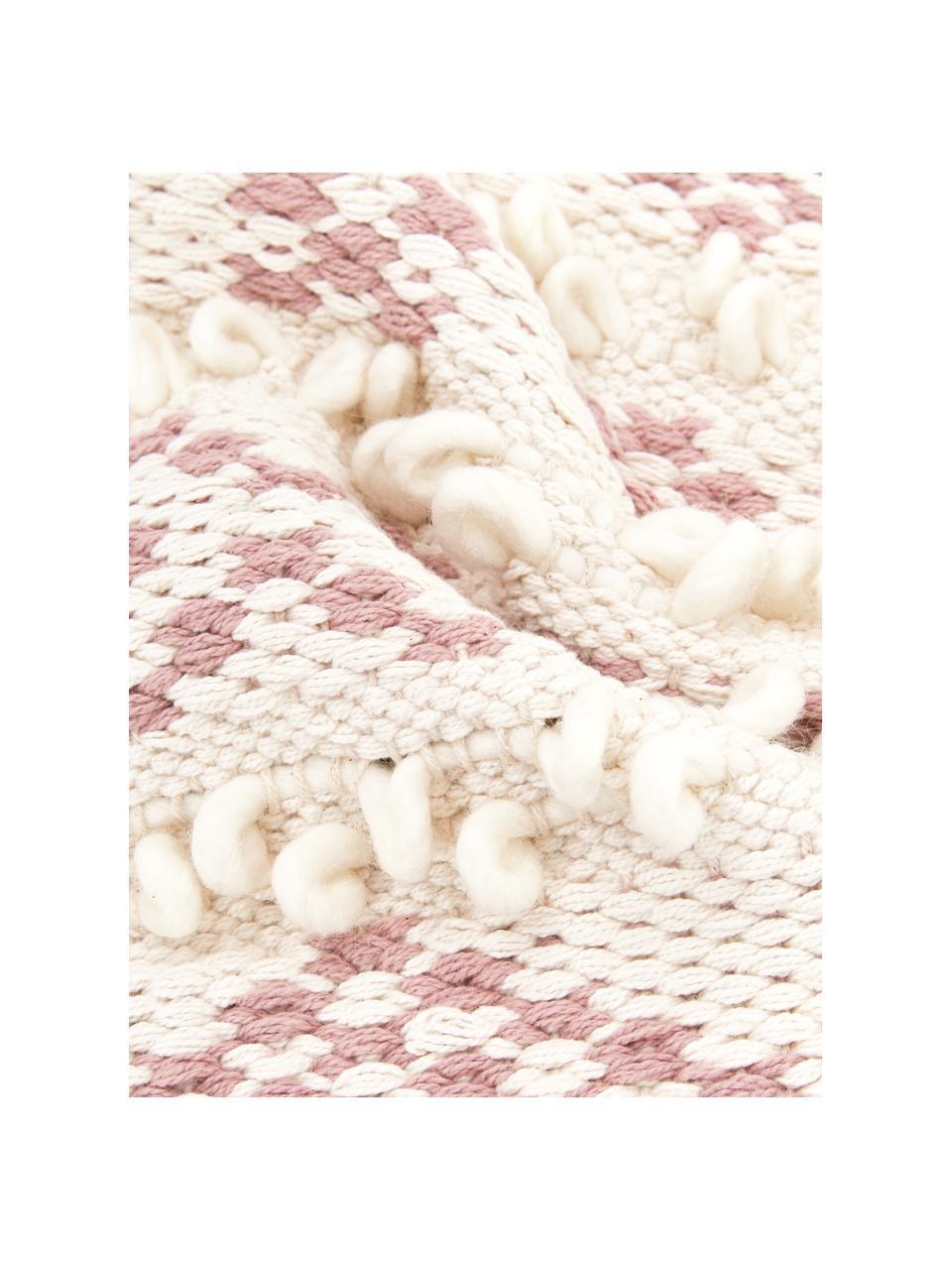Boho kussenhoes Paco met decoratie, 80% katoen, 20% wol, Wit, roze, 45 x 45 cm