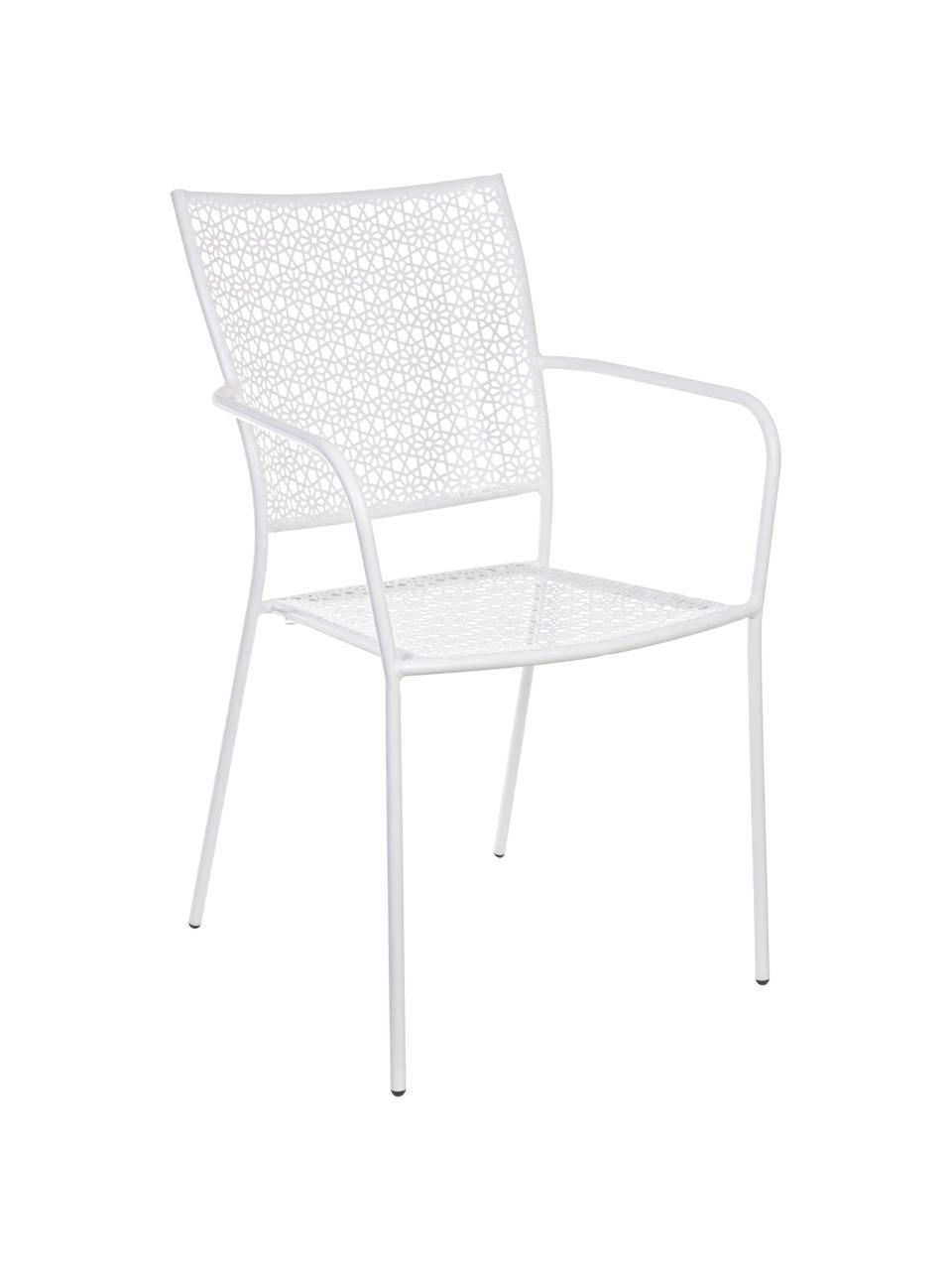 Garten-Armlehnstuhl Jodie aus Metall, Stahl, epoxy-pulverbeschichtet, Weiß, 57 x 89 cm