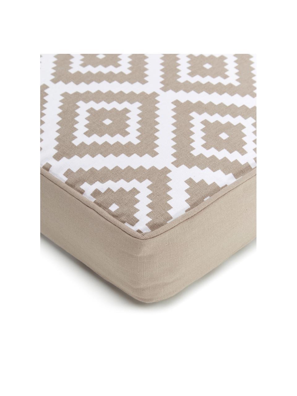 Hohes Sitzkissen Miami in Taupe/Weiß, Bezug: 100% Baumwolle, Beige, 40 x 40 cm