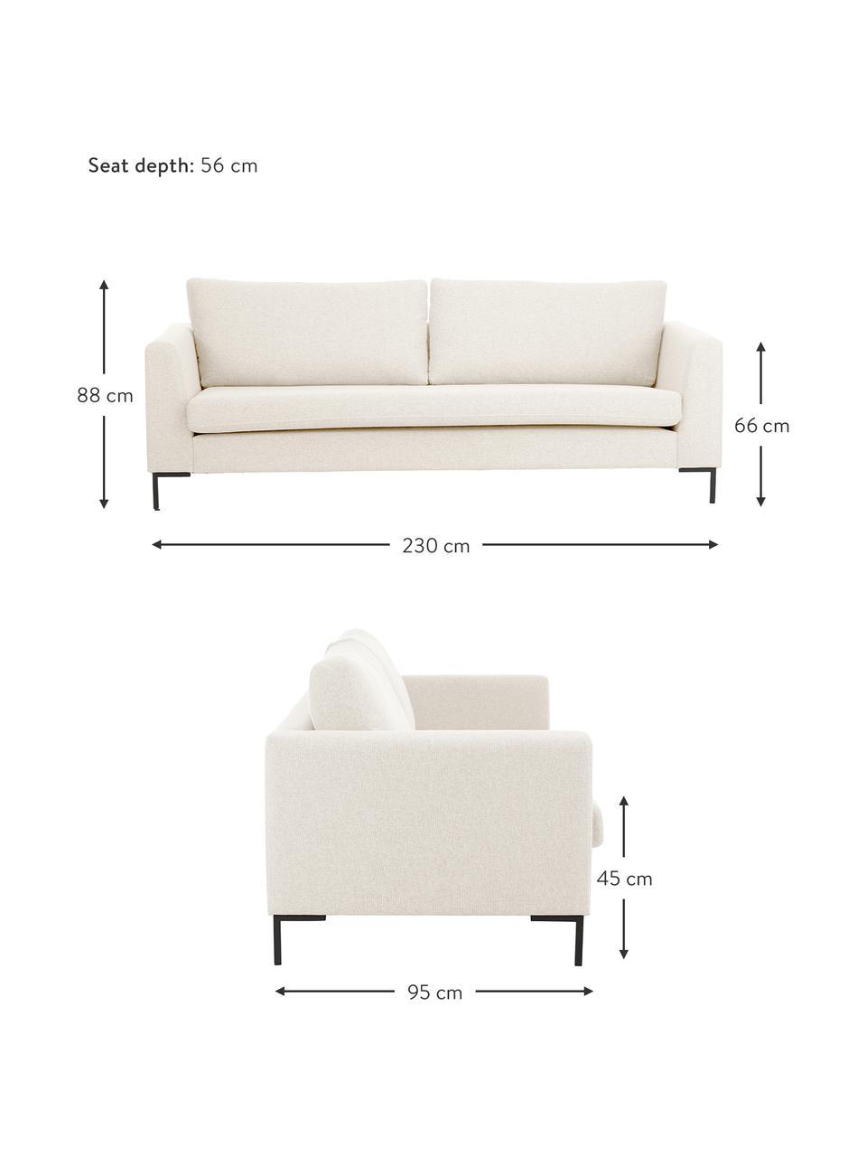 Sofa Luna (3-Sitzer) in Beige mit Metall-Füssen, Bezug: 100% Polyester Der hochwe, Gestell: Massives Buchenholz, Webstoff Beige, B 230 x T 95 cm