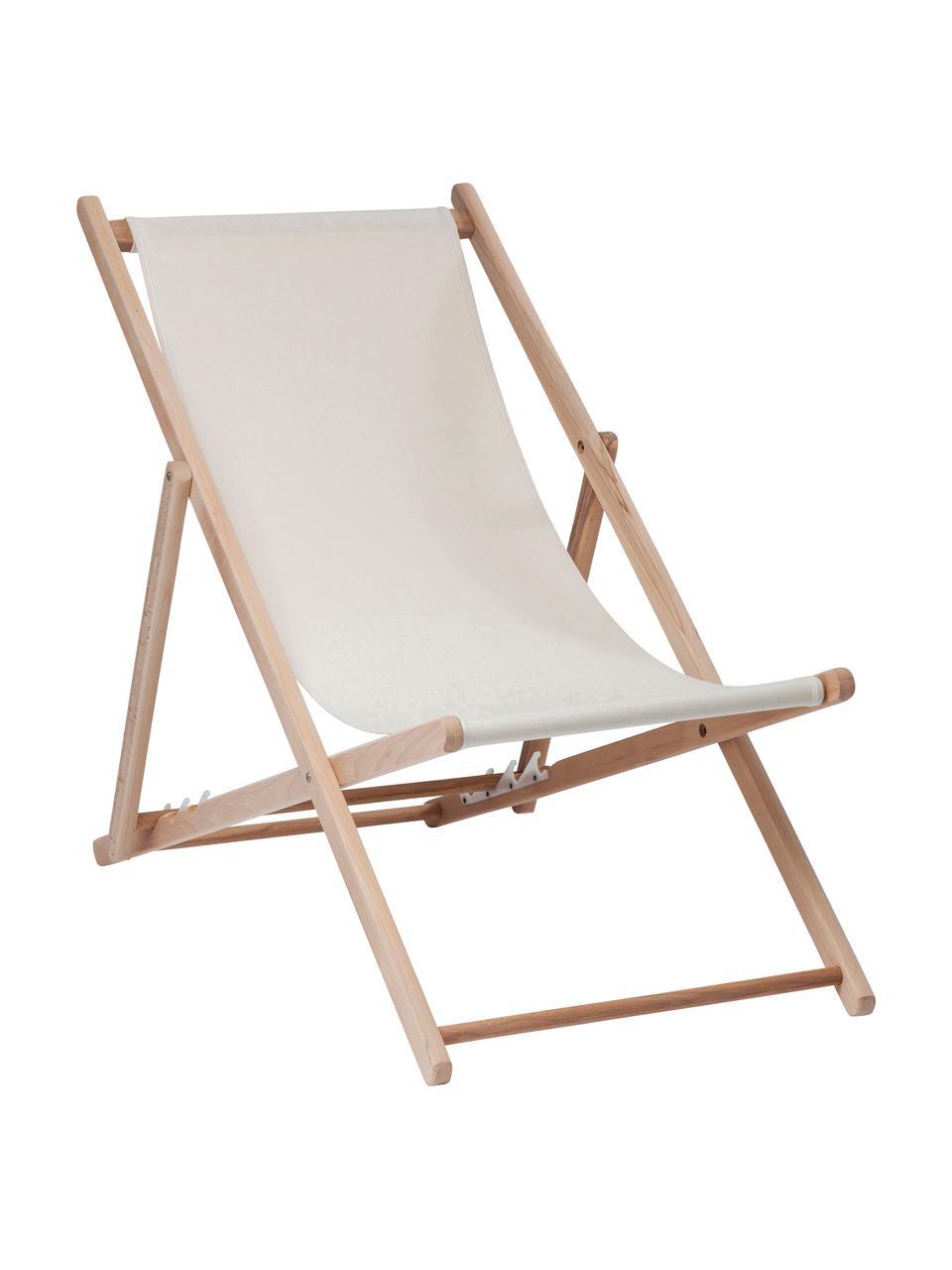 Transat rabattable Hot Summer, Beige, bois de hêtre