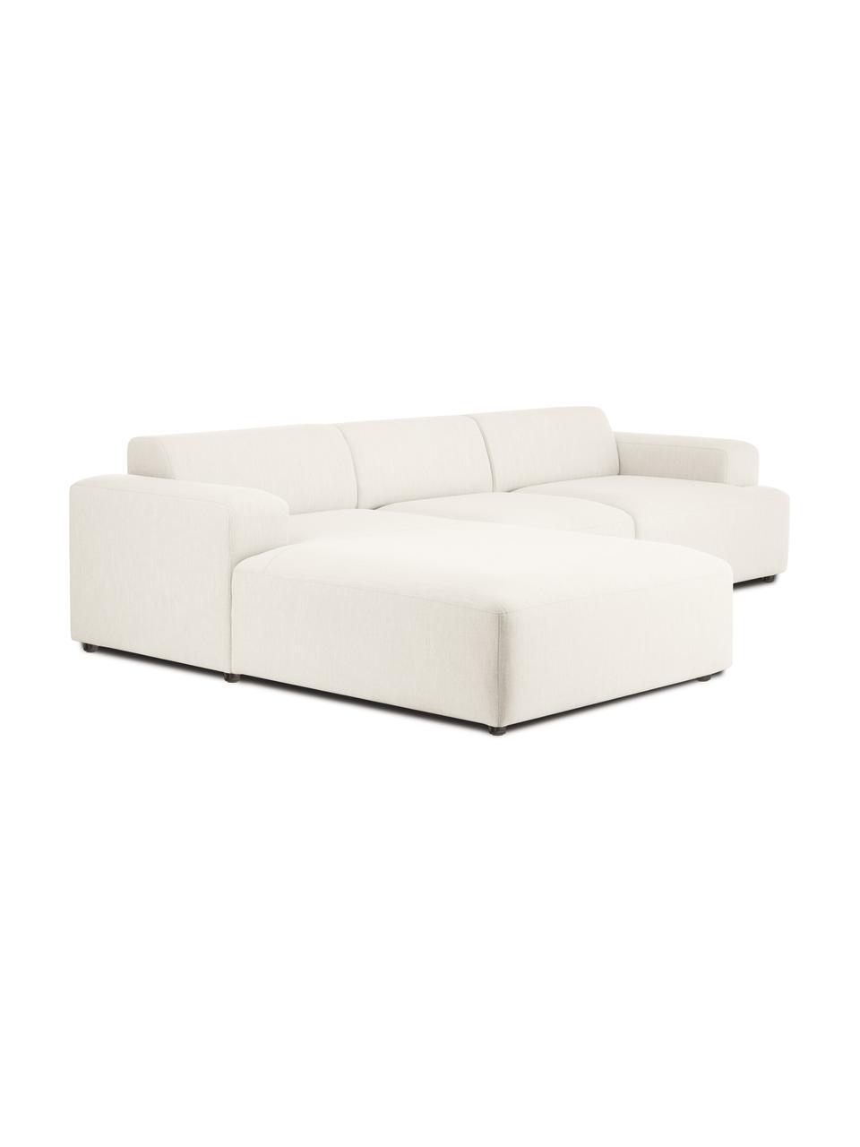 Hoekbank Melva (4-zits) in beige, Bekleding: 100% polyester, Frame: massief grenenhout, FSC-g, Poten: kunststof, Geweven stof beige, B 319 x D 196 cm