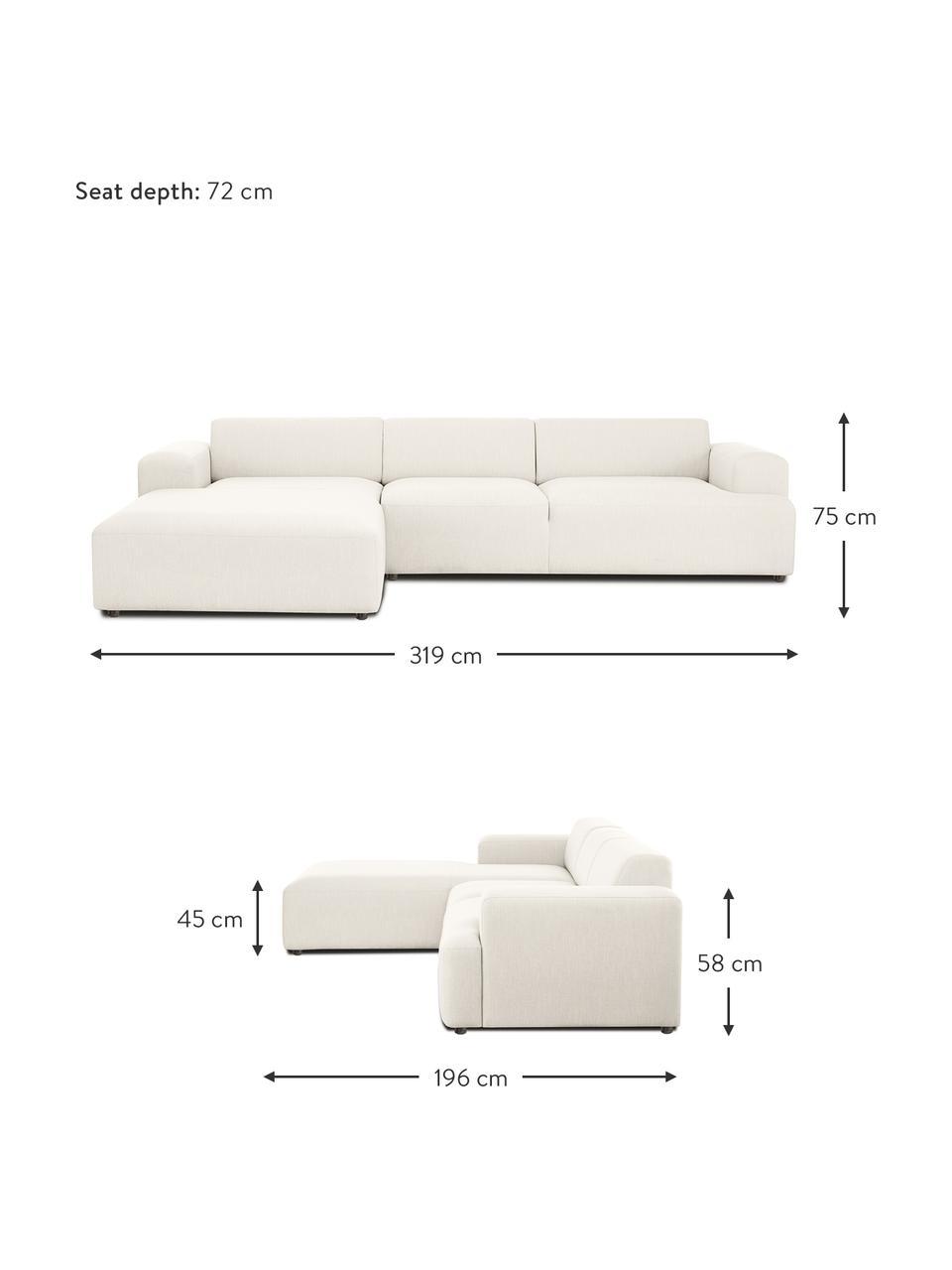 Ecksofa Melva (4-Sitzer) in Beige, Bezug: 100% Polyester Der hochwe, Gestell: Massives Kiefernholz, FSC, Füße: Kunststoff, Webstoff Beige, B 319 x T 196 cm