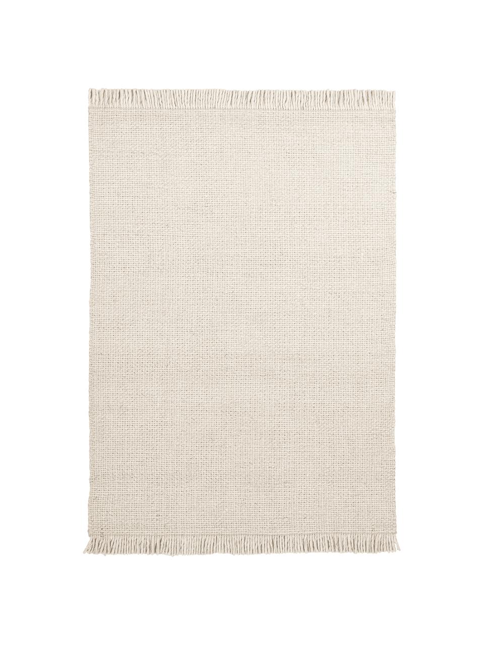 Handgewebter Wollteppich Alvin in Creme mit Fransenabschluss, Flor: 60% Wolle, 40% Viskose, Creme, B 200 x L 290 cm (Größe L)