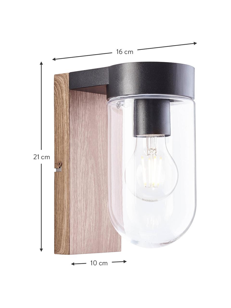 Applique da esterno aspetto legno e vetro Cabar, Paralume: vetro, Struttura: metallo rivestito, Marrone, nero, trasparente, Larg. 10 x Alt. 21 cm