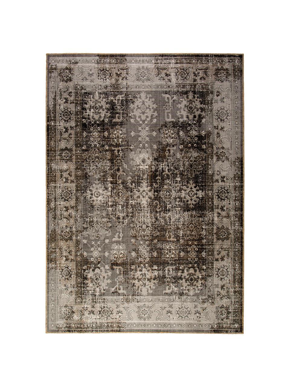 In- & Outdoor-Teppich Tilas Antalya im Vintage Style, 100% Polypropylen, Grautöne, Schwarz, B 160 x L 230 cm (Größe M)
