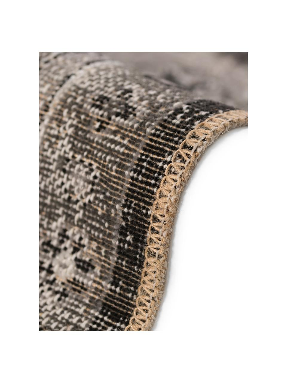 Dywan wewnętrzny/zewnętrzny w stylu vintage Tilas Antalya, 100% polipropylen, Odcienie szarego, czarny, S 160 x D 230 cm (Rozmiar M)