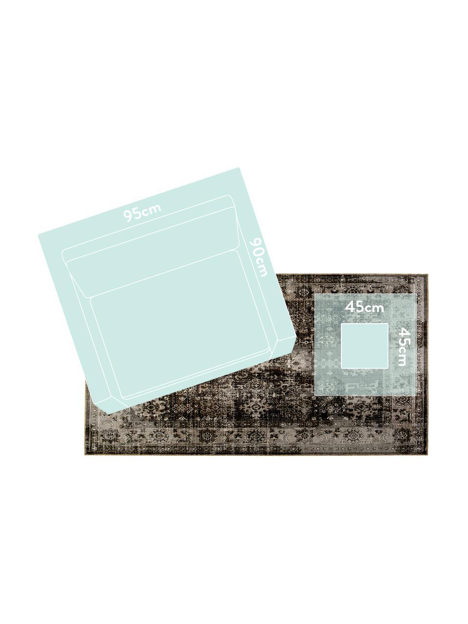 Tapis d'extérieur vintage Tilas Antalya, Tons gris, noir