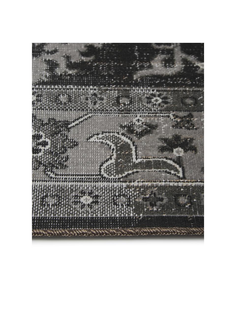 Tappeto vintage da interno-esterno Tilas Antalya, 100% polipropilene, Tonalità grigie, nero, Larg. 160 x Lung. 230 cm (taglia M)