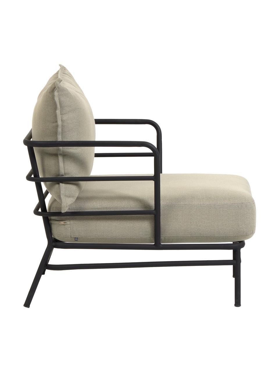 Tuin loungefauteuil Mareluz, Frame: verzinkt metaal en gelakt, Beige, 80 x 76 cm