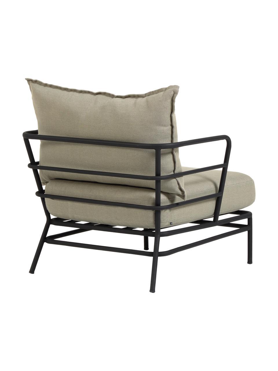 Garten-Loungesessel Mareluz, Gestell: Metall, verzinkt und lack, Beige, B 80 x T 76 cm