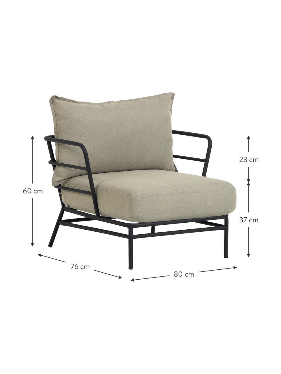 Fotel ogrodowy Mareluz, Stelaż: metal ocynkowany i lakier, Beżowy, S 80 x G 76 cm