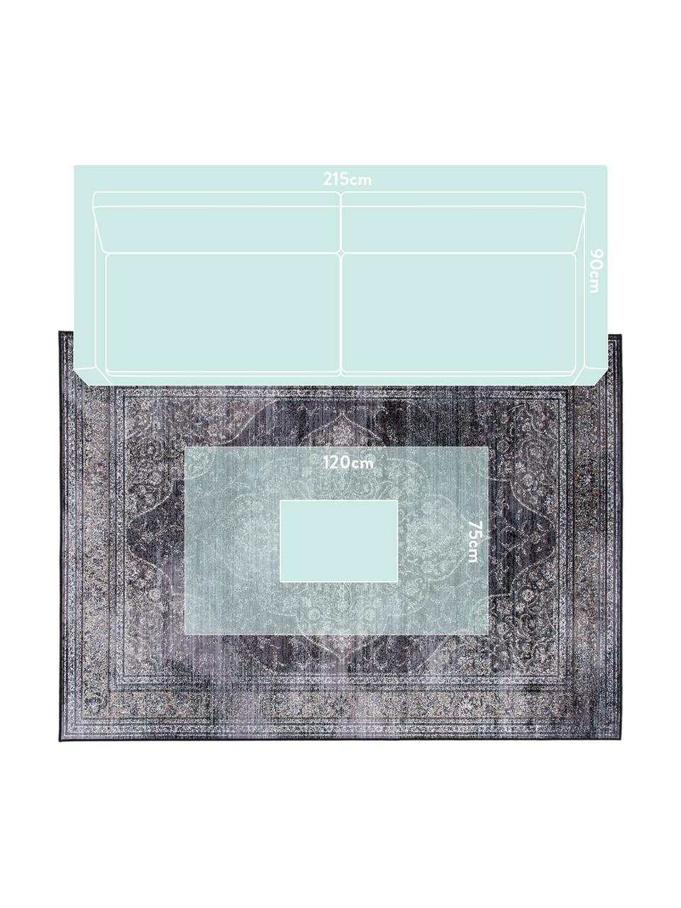 Dywan w stylu vintage Rugged, 66% wiskoza, 25% bawełna, 9% poliester, Antracytowy, S 200 x D 300 cm (Rozmiar L)
