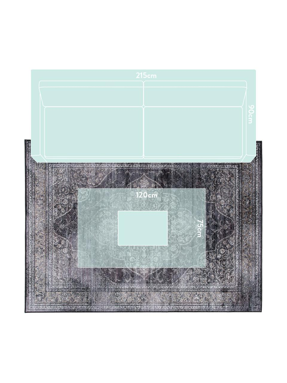 Vintage vloerkleed Rugged in grijstinten, 66% viscose, 25% katoen, 9% polyester, Antraciet, B 200 x L 300 cm (maat L)