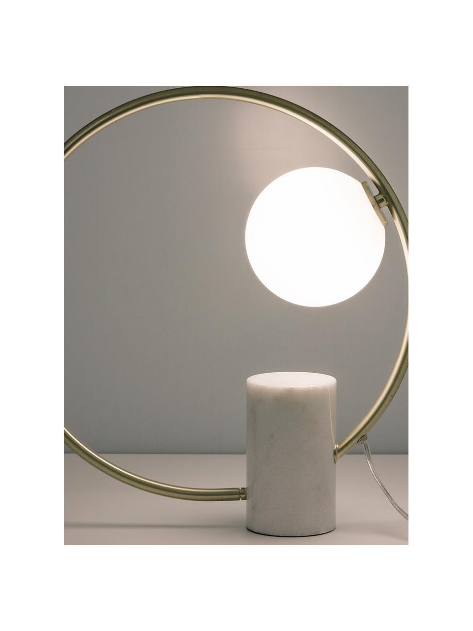 Lampada da tavolo con base in marmo Soho, Paralume: vetro, Base della lampada: marmo, possibili variazio, Struttura: metallo ottonato, Bianco ottonato, Larg. 40 x Alt. 42 cm