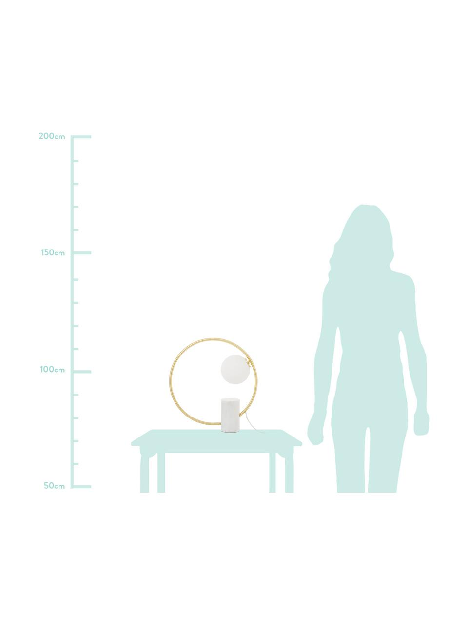 Glam tafellamp Soho met marmeren voet, Lampenkap: glas, Lampvoet: marmer, Wit, messingkleurig, 40 x 42 cm