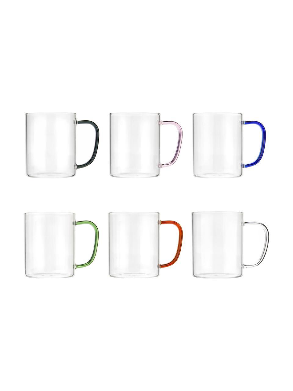 Tasse en verre avec poignées colorées, 6élém., Multicolore