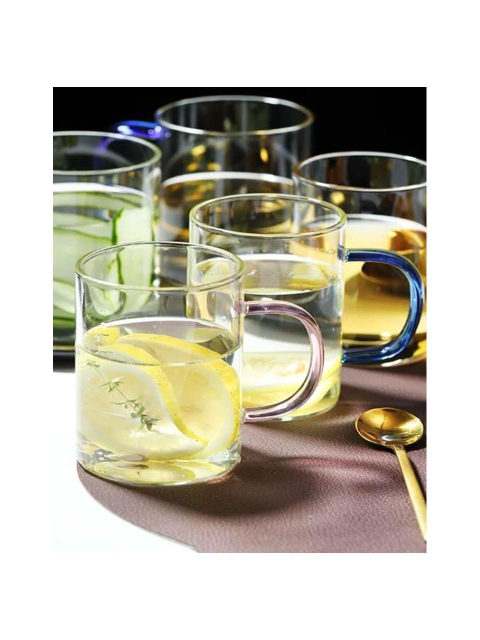 Glas-Tassen Colored mit bunten Henkeln, 6er-Set, Glas, Mehrfarbig, Ø 8 x H 10 cm