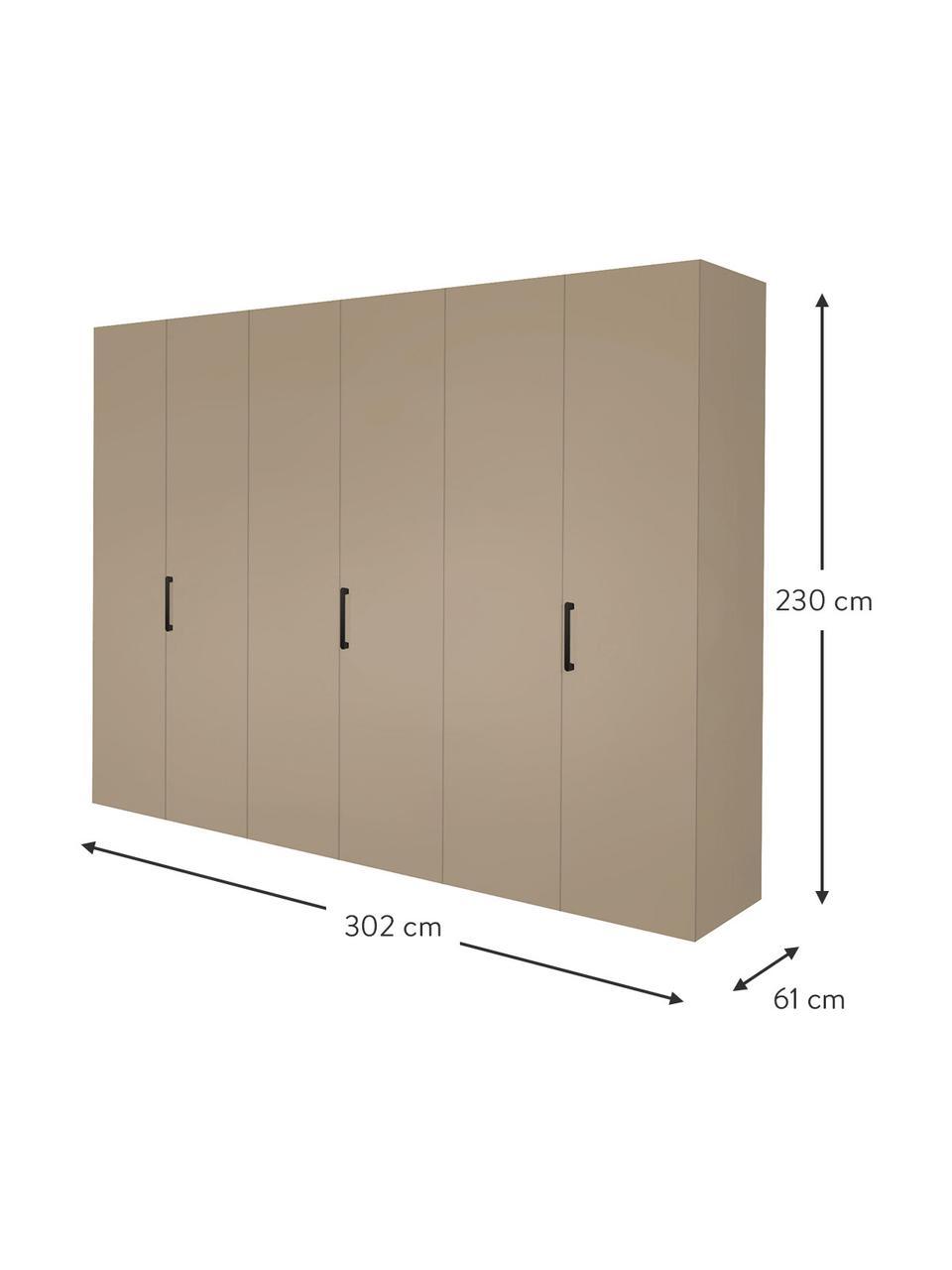 Kledingkast Madison in beige, 6 deuren, Frame: panelen op houtbasis, gel, Zandkleurig, 302 x 230 cm