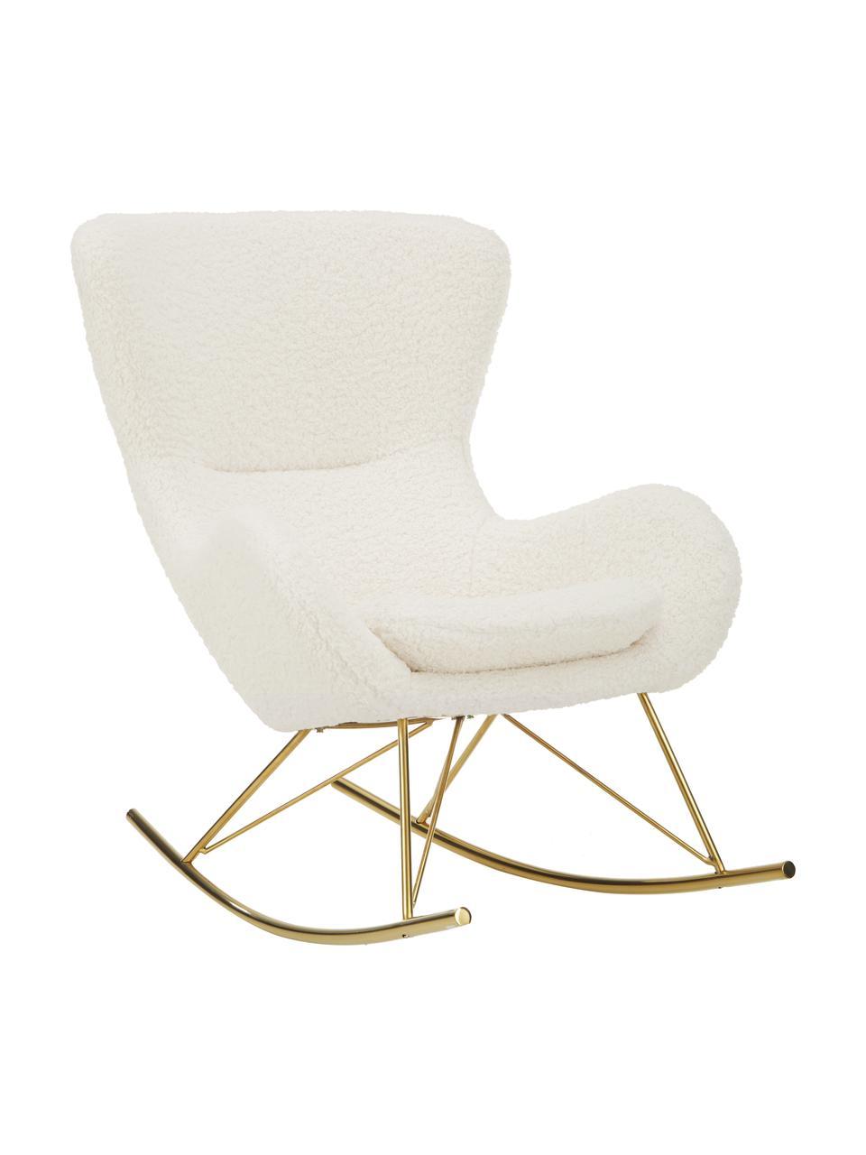 Plyšová hojdacia stolička s kovovými nohami Wing, Teddy krémovobiela, odtiene zlatej