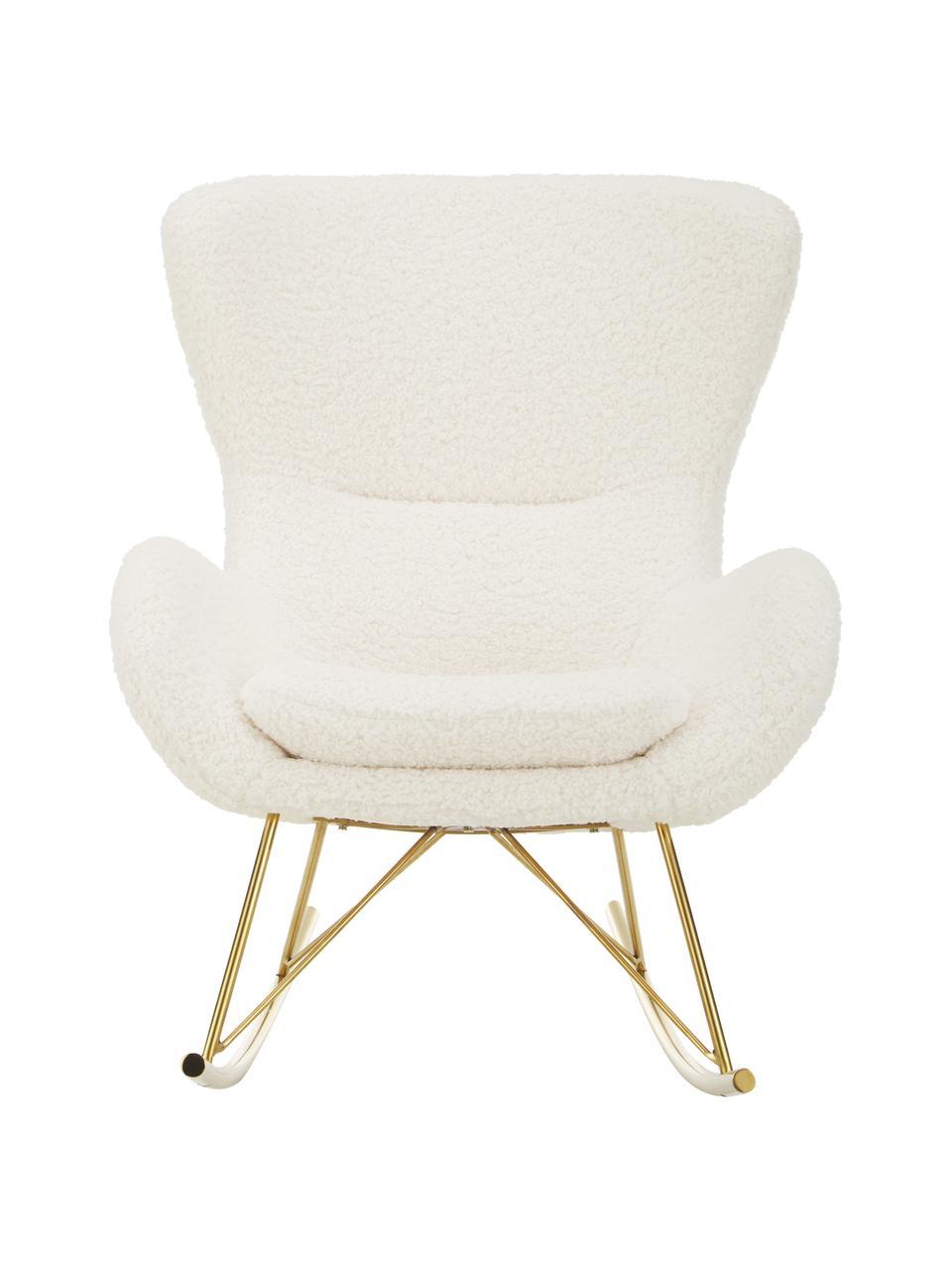 Fotel bujany z metalowymi nogami Teddy Wing, Tapicerka: poliester (futro Teddy) D, Stelaż: metal galwanizowany, Teddy kremowobiały, odcienie złotego, S 66 x G 102 cm