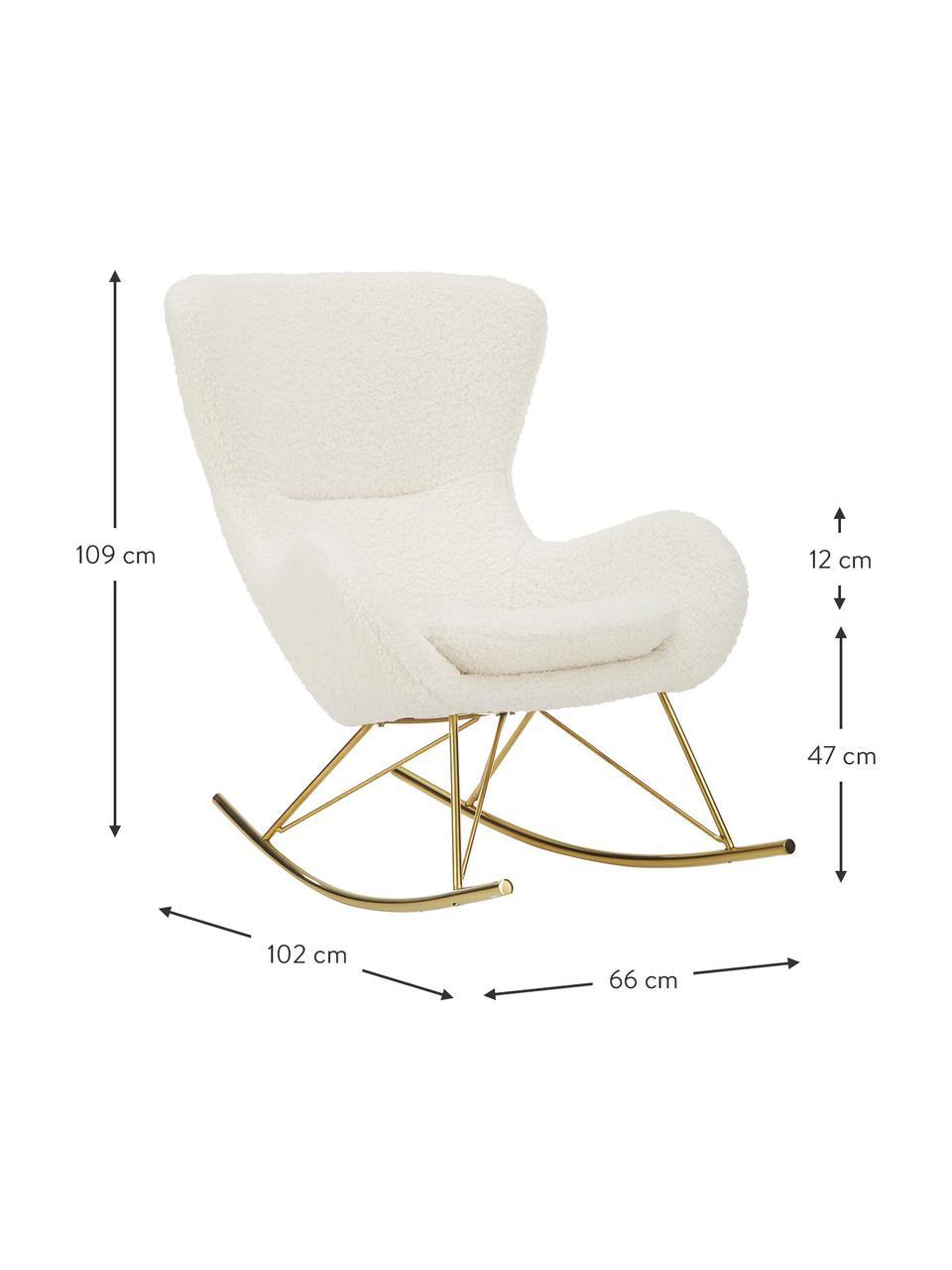 Teddy schommelstoel Wing in crèmewit met metalen poten, Bekleding: polyester (teddyvacht), Frame: gegalvaniseerd metaal, Teddy crèmewit, goudkleurig, B 77 x D 109 cm