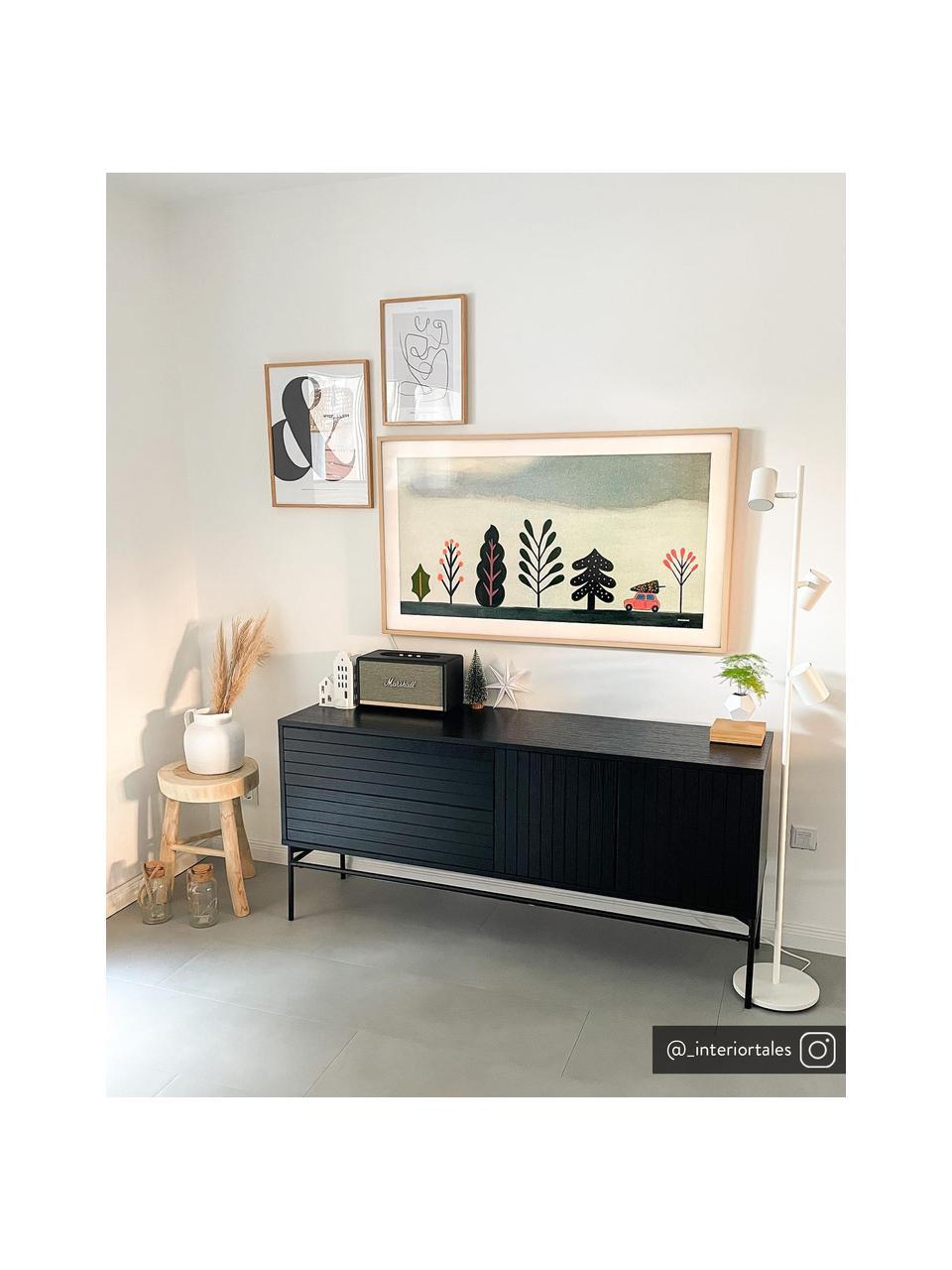 Credenza moderna con ante Johan, Piedini: metallo verniciato a polv, Nero, Larg. 160 x Alt. 75 cm