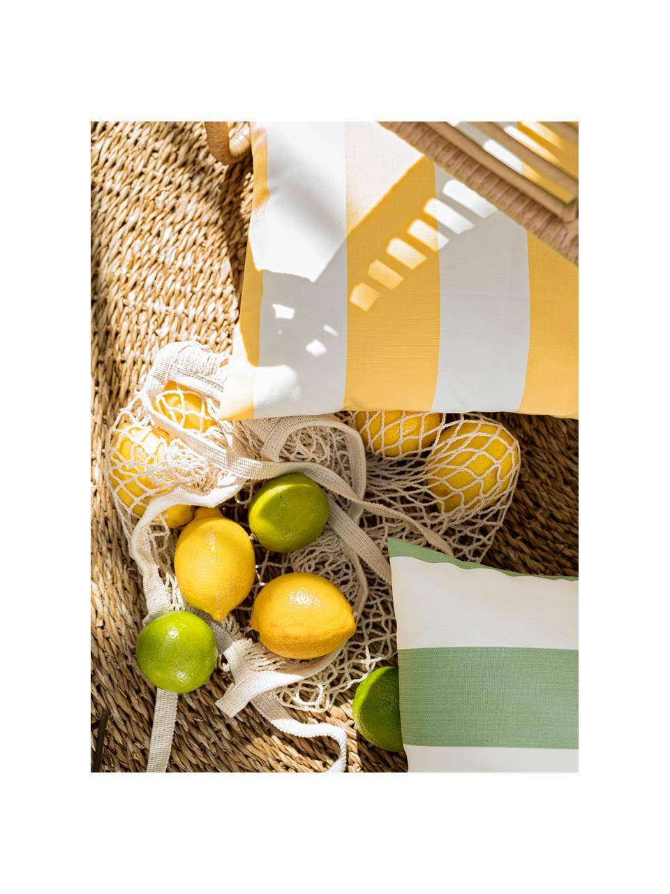 Gestreifte Outdoor-Kissenhülle Santorin in Weiß/Gelb, 100% Polypropylen, Teflon® beschichtet, Gelb, Weiß, 40 x 40 cm